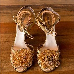 Roberto Cavalier Gold Flower Heels